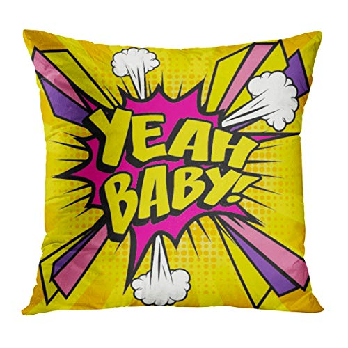 (VANMI Throw Pillow Cover Funny Pop Comics Yeah Baby Speech Bubble Cartoon Explosion Arrow Boom Decorative Pillow Case Home Decor Square 20x20 Inches Pillowcase)