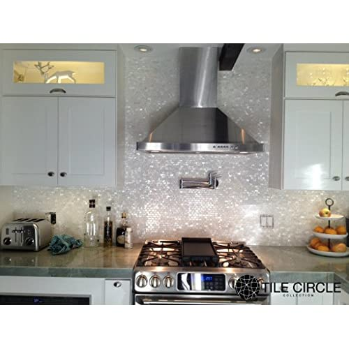 """70%OFF Sample Size 4"""" x 4"""" Genuine Mother of Pearl Shell Tile White 5/8"""" x 1"""" Minibricks for Backsplash and Bathroom Walls and Floors"""