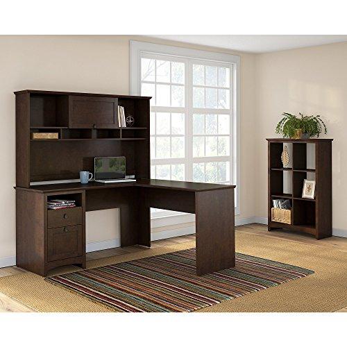 Buena Vista L Shaped Desk with Hutch and 6 Cube Bookcase by Bush Furniture