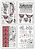 DaLin 4 Large Sheets HQ & Joker Temporary Tattoo Stickers SS Full Body Bundle for Costume/Cosplay Party Accessory