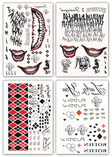 (DaLin 4 Large Sheets HQ & Joker Temporary Tattoo Stickers SS Full Body Bundle for Costume/Cosplay Party)