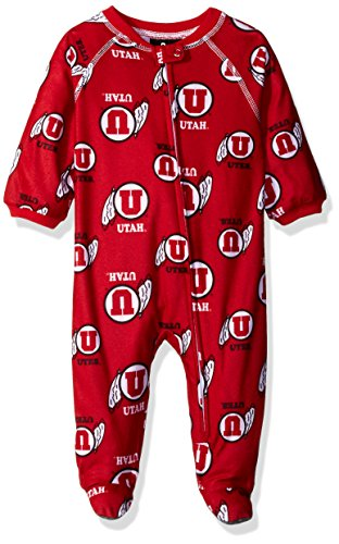 OuterStuff NCAA Utah Utes Newborn Boys Sleepwear All Over Print Zip Up Coveralls, 3-6 Months, University (Ncaa Prints Shop)
