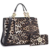 MKP Collection Chain Strap Satchel~Beautiful Handbag with Wallet Set~Designer Purse for Woman. Fashion Purse and Shoulder handbag (2526W) Leopard