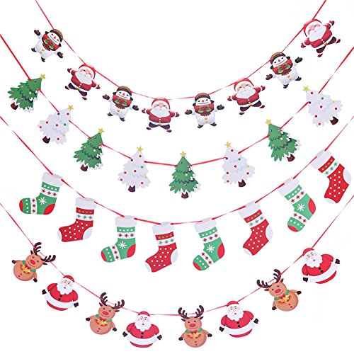 Artfen Christmas Banners Flags Hanging Bunting Garland 4 Pcs Paper Christmas Door Wall Window Hanging Decoration Ornaments Home Office Hotel Party Scene Decoration -