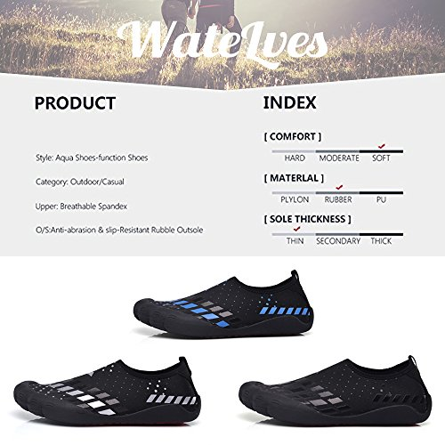 Wasserschuhe Mens Womens Beach Swim Schuhe Quick-Dry Aqua Socken Pool Schuhe für Surf Yoga Wassergymnastik Sq-Silber