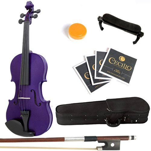Mendini 1/4 MV-Purple Solid Wood Violin with Hard Case, Shoulder Rest, Bow, Rosin and Extra Strings