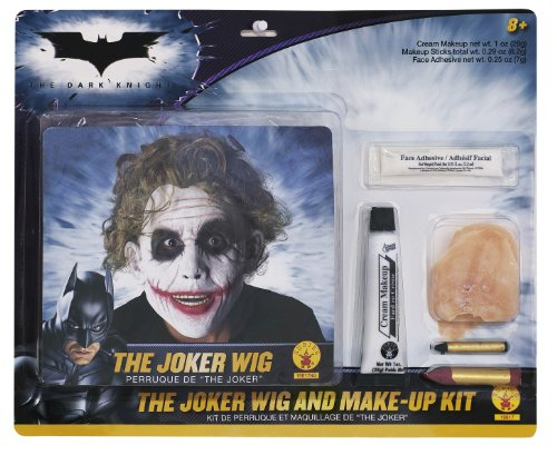 The Joker Girl Costume Makeup (Batman Deluxe Joker Wig And Make Up Kit, Black, One Size)