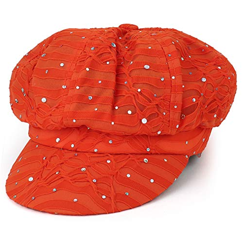 Armycrew Elastic Band Sparkle Sequin Glitter Newsboy Cap - Orange