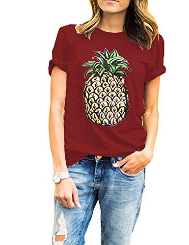 Haola Women's Pineapple Printed T Shirt Short Sleeve Funny Graphic Tops Juniors Tees L - Pineapple Tee