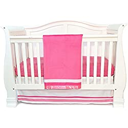 One Grace Place Simplicity Infant Crib Bedding Set, Hot Pink/Pink/White