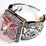 Lovely-Pink-Sapphire-925-Sterling-Silver-Ring-Size-8-Wedding-Ring-Engagement-Ring-Style