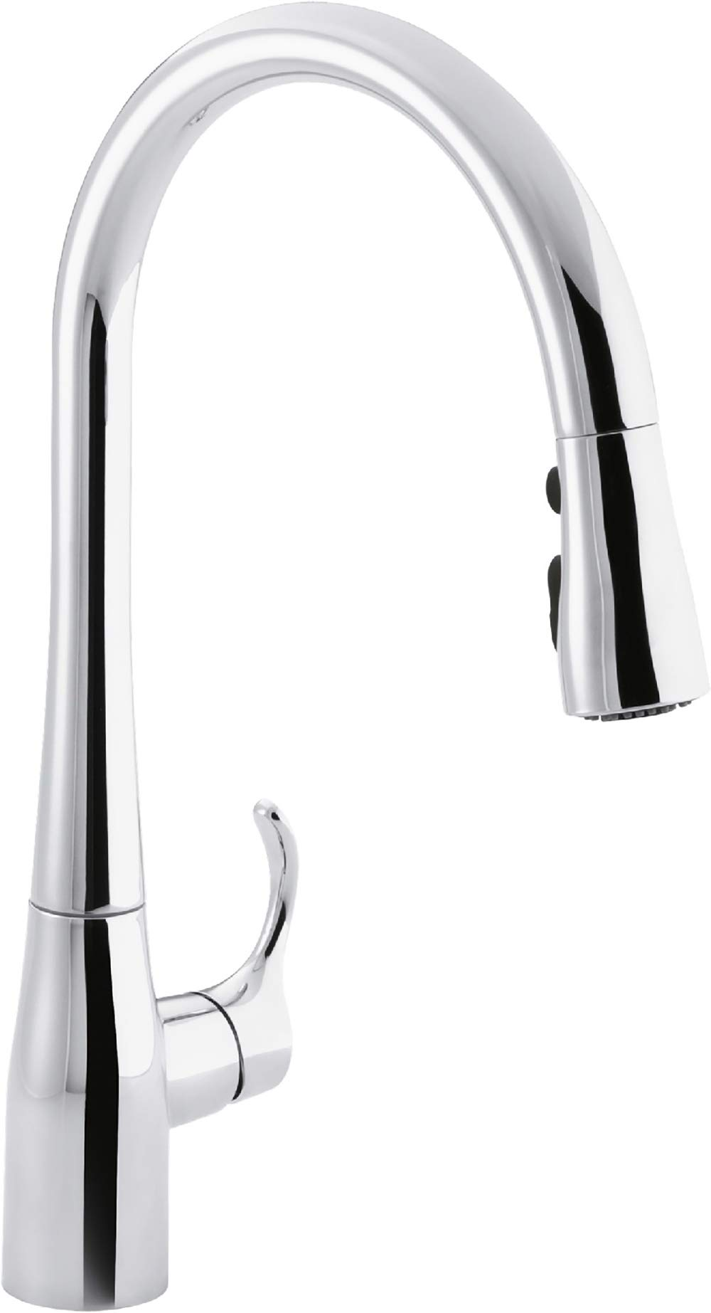 KOHLER K-596-CP Simplice High-Arch Single-Hole or Three-Hole, Single Handle, Pull-Down Sprayer Kitchen Faucet, Polished Chrome with 3-function Spray Head, Sweep Spray and Docking Spray Head Technology
