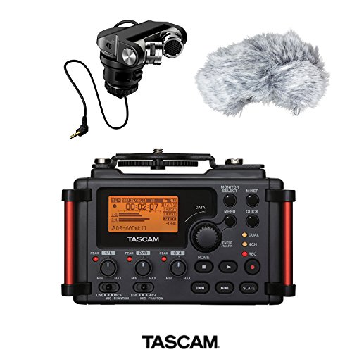 Tascam DR-60DmkII 4-Channel Portable Recorder for DSLR with TASCAM TM-2X - X-Y Pattern Stereo Cardioid Mic for DSLR Filmmaking