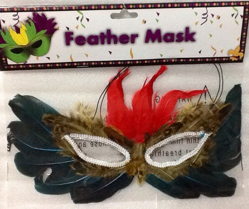 Mardi Gras Feather Mask ~ Red, Deep Turquoise, Speckled Brown -
