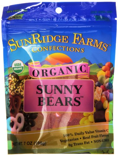 Sunridge Farms Organic Sunny Bears, Vegetarian, 7 Ounce Bag (Pack of 12)
