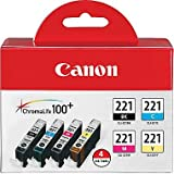 Canon CLI-221 4-Color Value Pack (Black/Cyan/Magenta/Yellow) (2946B004) in Retail Packaging