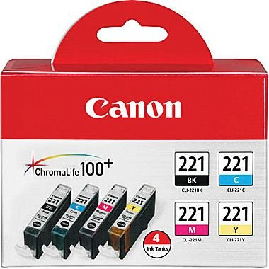Canon CLI-221 - Black, Cyan, Magenta, Yellow - 4 color pack -