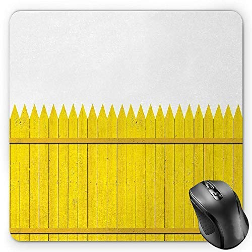 Yellow Mouse Pad, Colorful Wooden Picket Fence Design Suburban Community Rural Parts of Country Gaming Mousepad Office Mouse Mat Yellow Mustard]()
