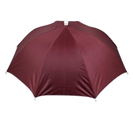 Sellify Outdoor Golf Fishing Elastic Headband Folded Umbrella Hat Burgundy