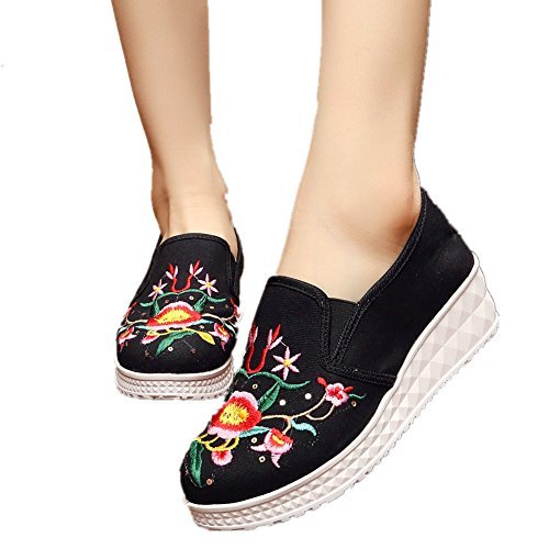 Chinese Embroidery Shoes Chinese style embroidered Canvas Shoes dancing shoes loafers black