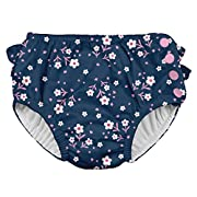 i play. Baby Girls Ruffle Snap Reusable Absorbent Swimsuit Diaper, Navy Posies, 18mo
