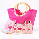 Lush Green Canyon Spa Gift Set In Pink Tote Bag wt wood Handles, 9 Piece Japanese Cherry Blossom Collective Bath and Body and Spa Basket Holiday Gift Set with Essential Oils, Sunflower Seed Oil, Vit E