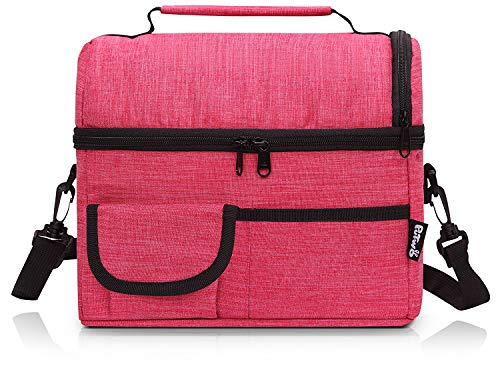 PuTwo Lunch Bag 8L Insulated Lunch Bag Lunch Box Lunch Bags for Women Lunch Bag for Men Cooler Bag with YKK Zip and Adjustable Shoulder Strap Lunch Tote for Kids Lunch Box Lunch Pail - Rosy by PuTwo