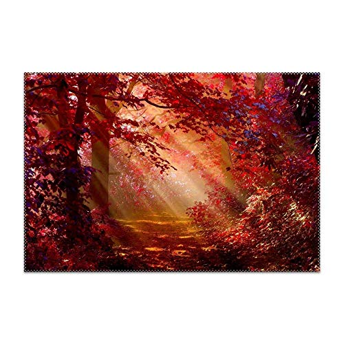 POGResdx Non-Slip Insulation Sunlit Autumn Forest Placemat Washable Table Mats Easy to Clean Set of 4