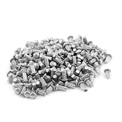 uxcell a15091700ux0629 200 Pcs 1/8 inches x 1/4 inches Aluminium Round Head Solid Rivets Knurled Shanks Pack of 200