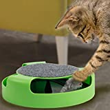 Yosoo Catch The Mouse Motion Cat Toy, Scratch Pad With Rotating Toy Mouse, Pet Cat Catch The Rotating Mouse Plush Moving Toy ,Cat Motion Chase Toy