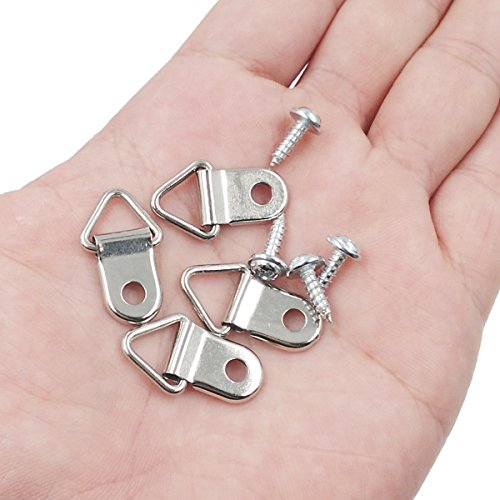 Comdox 100 Pack Picture Hangers Triangle Ring Picture Frame Hanger with Screws
