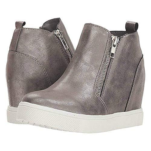 Womens Platform Wedge Sneaker Booties Slip on High Top Heeled Zip Up Pump Ankle Boots