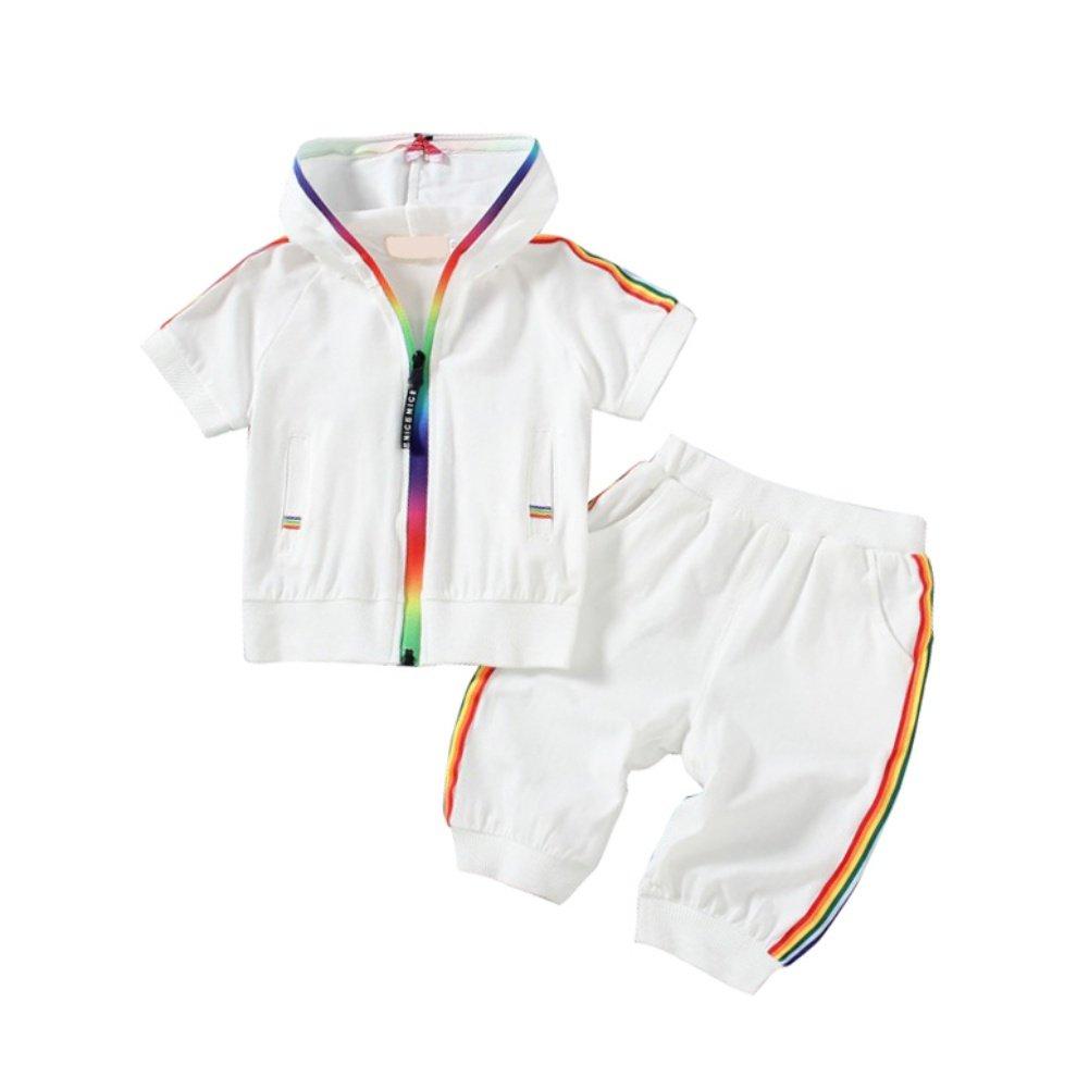 BOBORA Baby Boy Tracksuit Kids Short Sleeve Zipper Hoodie with Short Pants Clothes Set BO-UK364