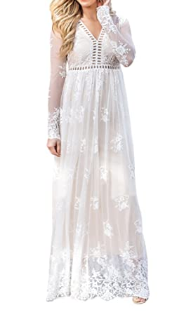 a325d92bc Imily Bela Women s Vintage Chiffon Long Sleeve Wedding Bridesmaid Summer  Beach Maxi Long Dress White