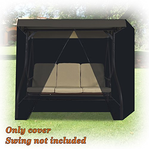 Strong Camel 3 Seater Patio Canopy Swing Cover - Outdoor Furniture Porch Waterproof Protector Zipper Closure (Black) ()