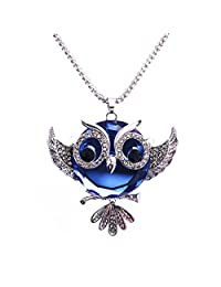 Luvalti Owl Pendant Necklace for Women - Blue Crystal Pendant Necklace - Fashion Jewelry - 27.5'' (69.85cm)