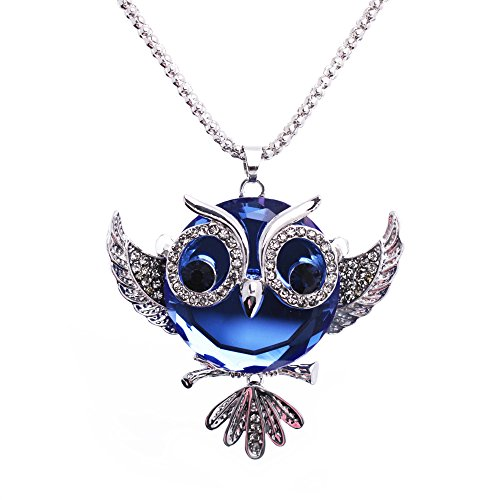 Luvalti Owl Pendant Necklace for Women - Blue Crystal Pendant Necklace - Fashion Jewelry - 27.5'' -