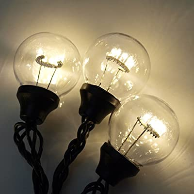 LED G50 15 String Light Set - Warm White with Black Cord
