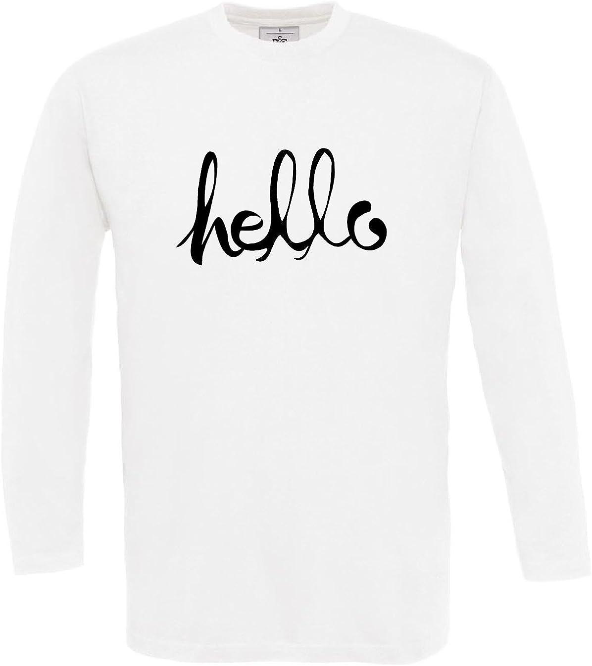 2Store24 Camiseta estampada de manga larga para Hombre Hello Cool Designer Shirt - S-3XL: Amazon.es: Ropa y accesorios