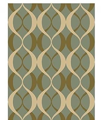 Adgo Collection, Modern Contemporary Rectangular Design Rubber-Backed Non-Slip (Non-Skid) Area Rugs| Thin Low Profile Indoor/Outdoor Floor Rug