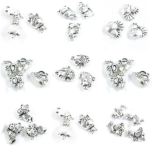 - 30 Pieces Antique Silver Tone Jewelry Making Charms Chinese Zodiac Pig Piggy Tiger Horse Mouse Rat Plum Chicken
