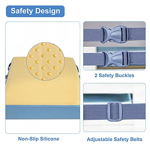 """Toddler Booster Seat for Table - Enlarged Waterproof Breathable Booster Seat Cushion for Kids Made of """"Modern Leather"""" with Non-Slip Bottom & Safety Buckle Booster Seat for Dining Chair"""