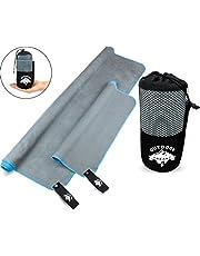 OUTDOOR FREAKZ Mikrofaser Handtuch 2er Set 140 x 70 cm und 70 x 40 cm schnelltrocknend, superleicht und antibakteriell