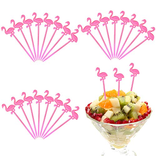 Elcoho 400 Pieces Plastic Pink Flamingo Picks Cocktail Appetizer Toppers Picks Plastic Drink Picks for Tropical Party Decoration and Party Supplies (Pink Flamingo)