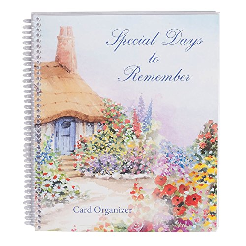 Record Holders Card - Miles Kimball Greeting Cards Organizer - Reusable Card Storage - Never Forget Birthdays, Anniversaries, and Weddings - Spiralbound Book- 8 1/4 in. Wide by 9 ½ in. High- Cottage Design