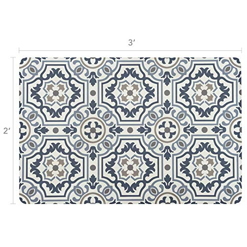 (Vinyl Floor Mat, Durable, Soft and Easy to Clean, Ideal for Kitchen Floor, Mudroom or Pet Food Mat. Freestyle, Denim Tapestry Pattern (2 ft x 3 ft))
