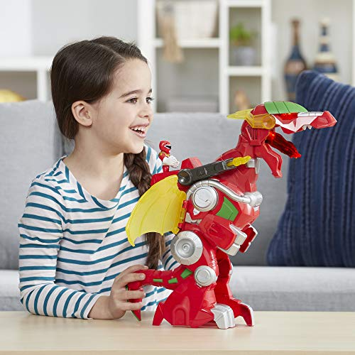 """Playskool Heroes Power Rangers Red Ranger & Dragon Thunderzord, 3"""" Action Figure, 14"""" Zord, Lights & Sounds, Collectible Toys for Kids Ages 3 & Up"""