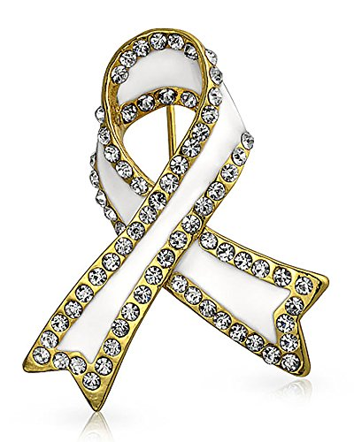 Bling Jewelry White Ribbon Lung Cancer Survivor Crystal Brooch Pin for Women Enamel Gold -