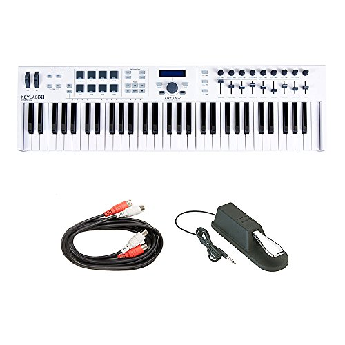 (Arturia KeyLab 61 Essential Midi Controller, Software, Expression Pedal and Midi Cables)