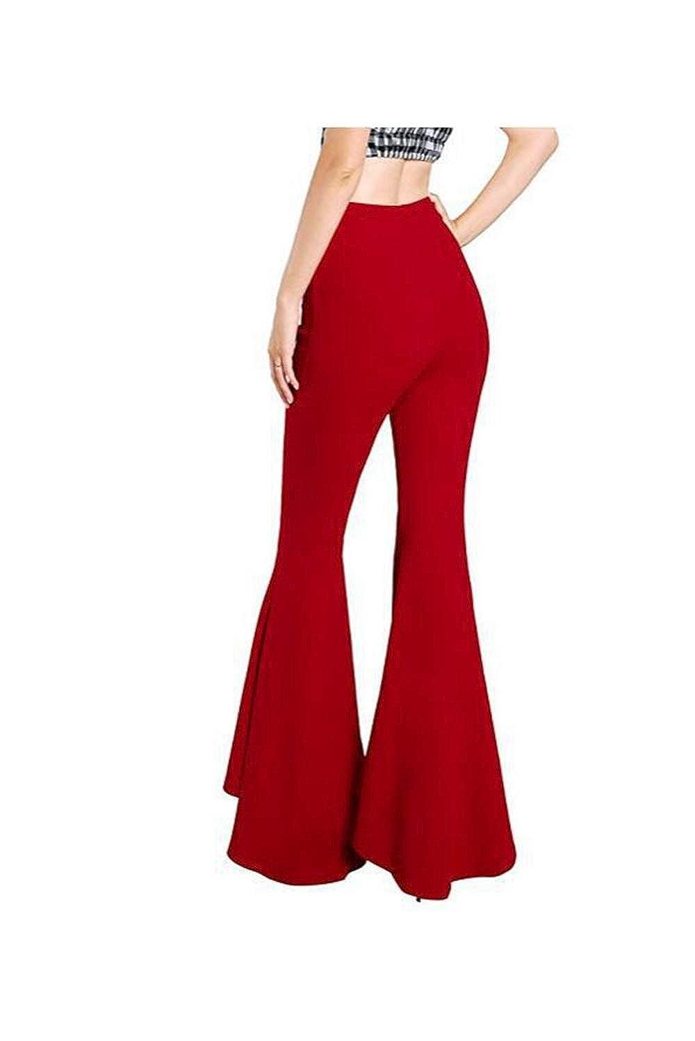 Trousers Women High Waist Bell Bottom Pants Flare Wide Leg Big Plus Size 3XL